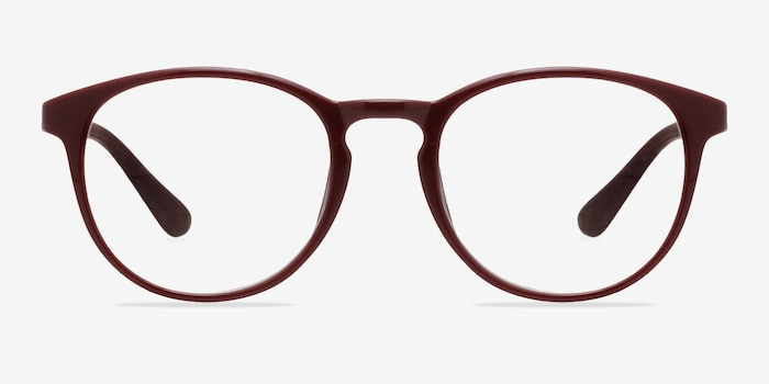 Muse Dark Red Plastic Eyeglass Frames from EyeBuyDirect, Front View