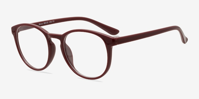 Muse Dark Red Plastic Eyeglass Frames from EyeBuyDirect, Angle View