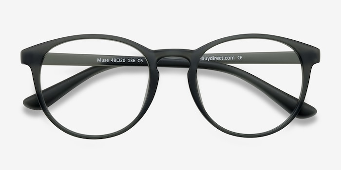 Muse Matte Gray Plastic Eyeglass Frames from EyeBuyDirect, Closed View