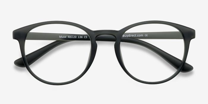 Muse Matte Gray Plastique Montures de Lunettes d'EyeBuyDirect, Vue Rapprochée
