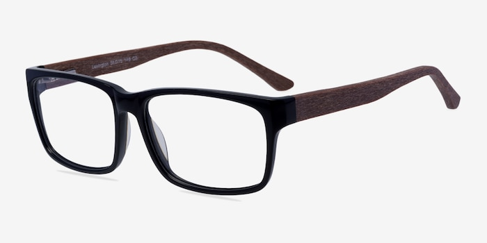 Lexington Black/brown Acetate Eyeglass Frames from EyeBuyDirect, Angle View