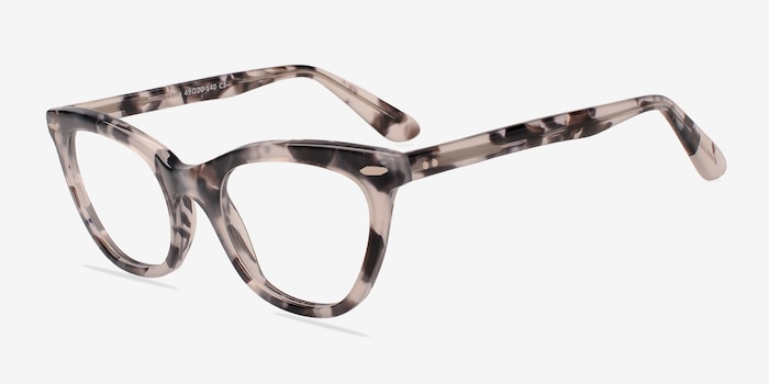 Ellie Gray Acetate Eyeglass Frames from EyeBuyDirect, Angle View