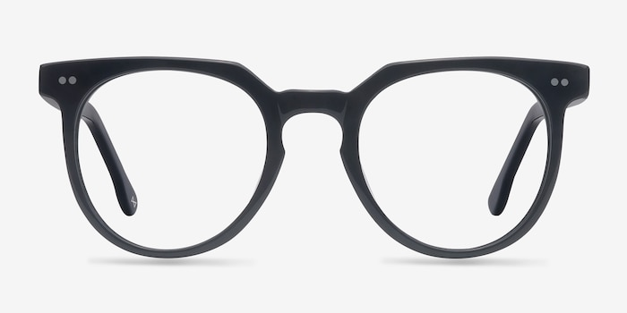 Atmosphere Jet Black Acetate Eyeglass Frames from EyeBuyDirect, Front View