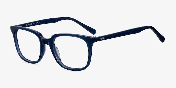 Ornette  Blue  Acetate Eyeglass Frames from EyeBuyDirect, Angle View