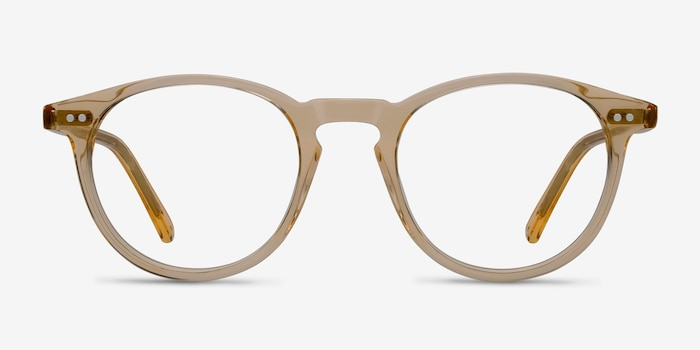 Kyoto  Clear Yellow  Acetate Eyeglass Frames from EyeBuyDirect, Front View
