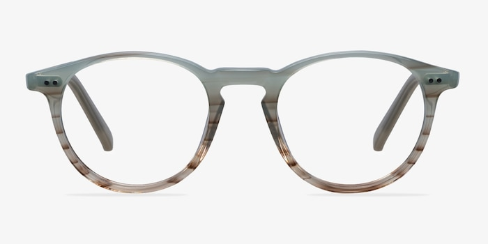 Kyoto  Green Striped  Acetate Eyeglass Frames from EyeBuyDirect, Front View