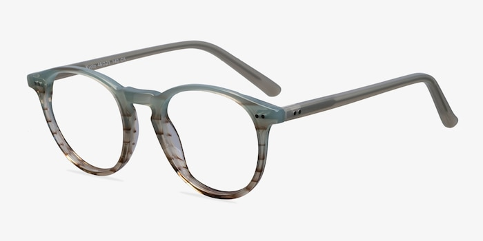 Kyoto  Green Striped  Acetate Eyeglass Frames from EyeBuyDirect, Angle View