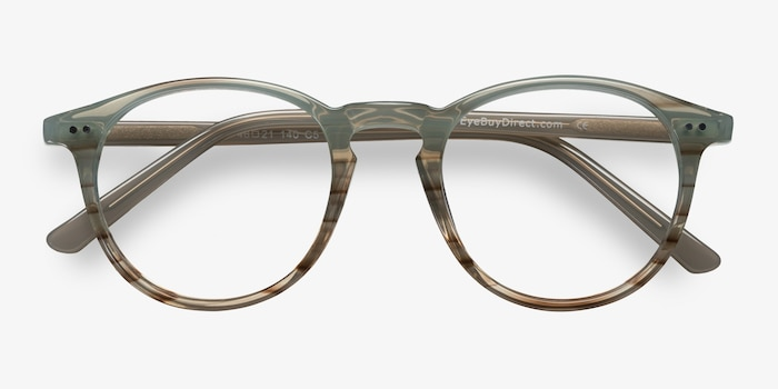Kyoto  Green Striped  Acetate Eyeglass Frames from EyeBuyDirect, Closed View