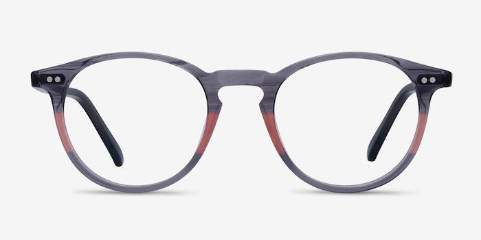 Kyoto Gray Clear Acetate Eyeglass Frames from EyeBuyDirect, Front View