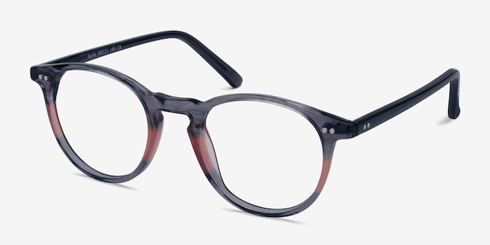 Kyoto Gray Clear Acetate Eyeglass Frames from EyeBuyDirect, Angle View
