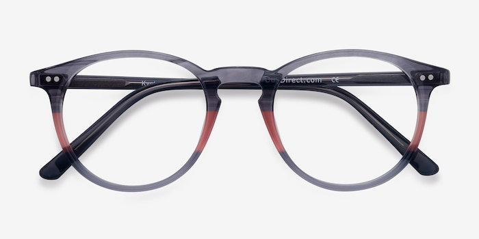 Kyoto Gray Clear Acetate Eyeglass Frames from EyeBuyDirect, Closed View
