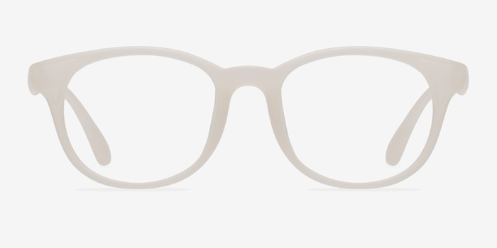 Norah Matte White  Plastic Eyeglass Frames from EyeBuyDirect, Front View