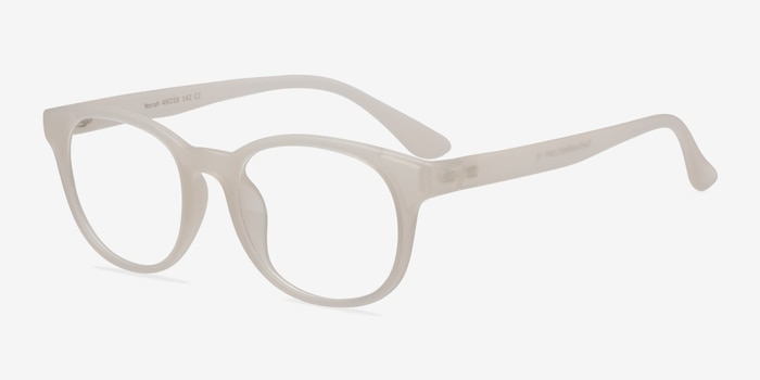 Norah Matte White  Plastic Eyeglass Frames from EyeBuyDirect, Angle View