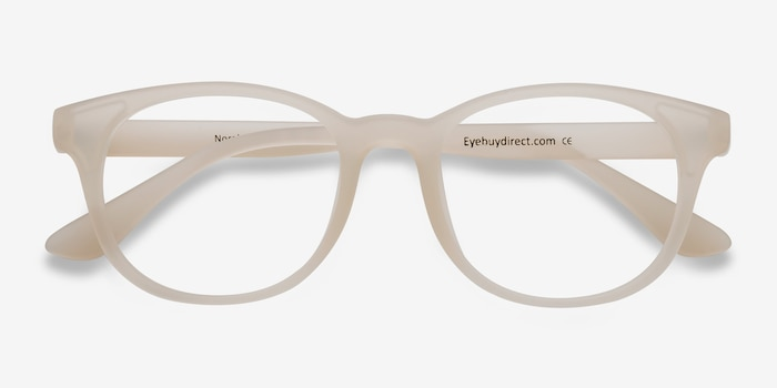 Norah Matte White  Plastic Eyeglass Frames from EyeBuyDirect, Closed View