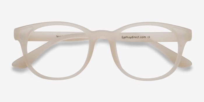 Norah Matte White  Plastique Montures de Lunettes d'EyeBuyDirect, Vue Rapprochée