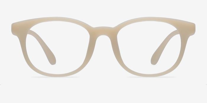 Norah Matte Beige Plastic Eyeglass Frames from EyeBuyDirect, Front View