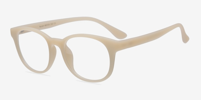 Norah Matte Beige Plastic Eyeglass Frames from EyeBuyDirect, Angle View
