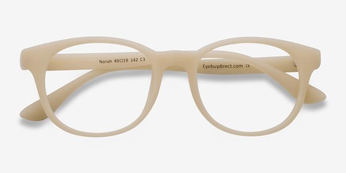 Norah Matte Beige Plastic Eyeglass Frames from EyeBuyDirect, Closed View