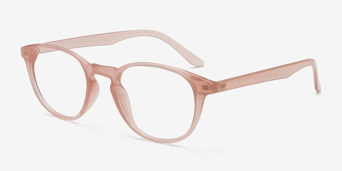 Sea Breeze Pink Plastic Eyeglass Frames from EyeBuyDirect, Angle View
