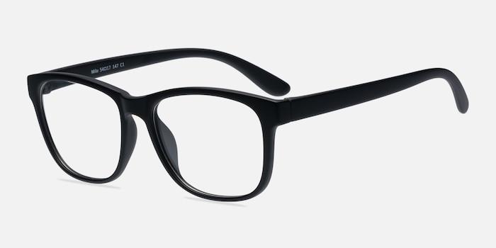 Milo Matte Black Plastique Montures de Lunettes d'EyeBuyDirect, Vue d'Angle