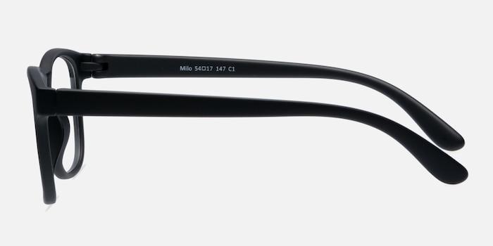 Milo Matte Black Plastique Montures de Lunettes d'EyeBuyDirect, Vue de Côté