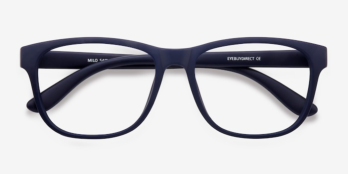 Milo Matte Navy Plastic Eyeglass Frames from EyeBuyDirect, Closed View