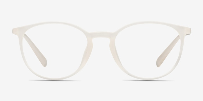 Dinah Clear/White Plastic Eyeglass Frames from EyeBuyDirect, Front View