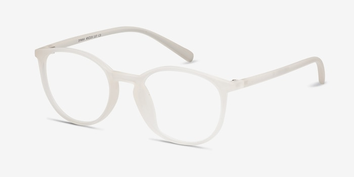 Dinah Clear/White Plastic Eyeglass Frames from EyeBuyDirect, Angle View