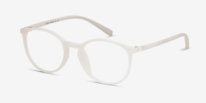 Dinah Transparent/Blanc Plastique Montures de Lunettes d'EyeBuyDirect, Vue d'Angle