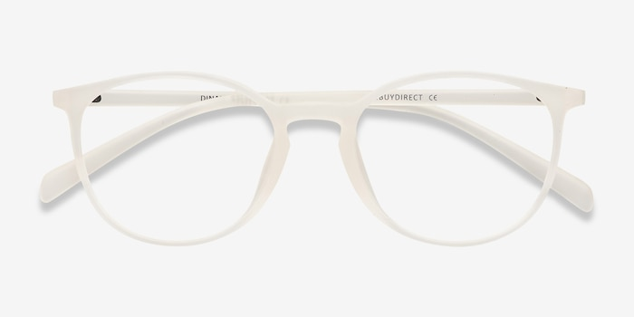 Dinah White Plastic Eyeglass Frames from EyeBuyDirect, Closed View