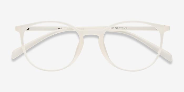 Dinah Transparent/Blanc Plastique Montures de Lunettes d'EyeBuyDirect, Vue Rapprochée