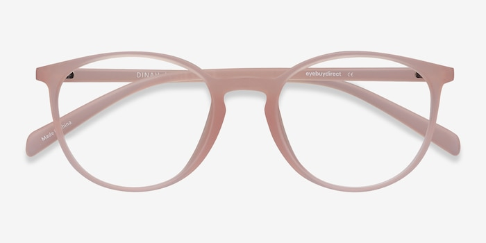 Dinah Matte Pink Plastic Eyeglass Frames from EyeBuyDirect, Closed View