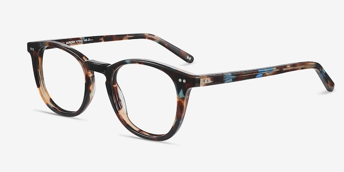 Aurora Nebular Blue Acetate Eyeglass Frames from EyeBuyDirect, Angle View