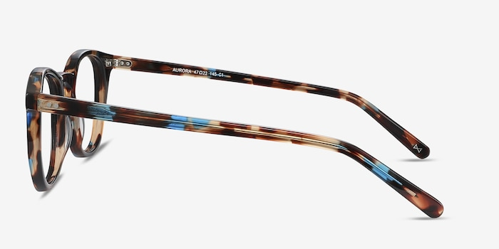 Aurora Nebular Blue Acetate Eyeglass Frames from EyeBuyDirect, Side View