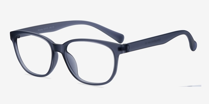 Moody Matte Gray Plastic Eyeglass Frames from EyeBuyDirect, Angle View