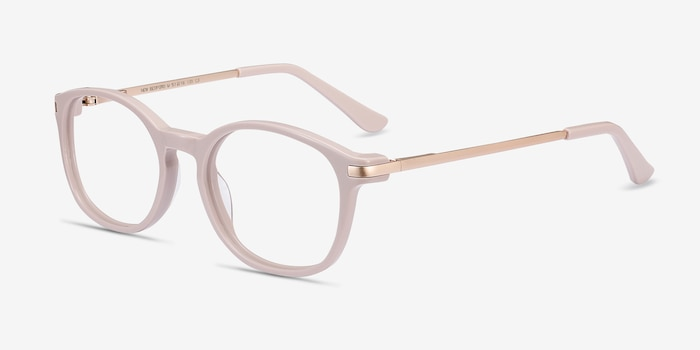 New Bedford Faded Rose Acetate Eyeglass Frames from EyeBuyDirect, Angle View