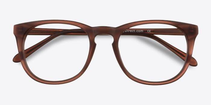 Providence Matte Brown Acétate Montures de Lunettes d'EyeBuyDirect, Vue Rapprochée