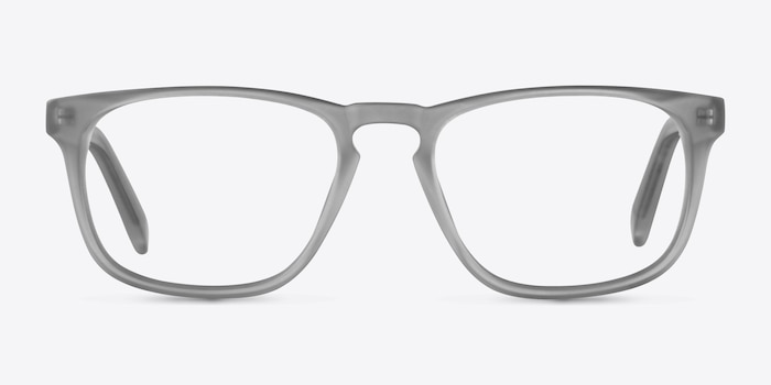 Rhode Island Matte Gray Acetate Eyeglass Frames from EyeBuyDirect, Front View