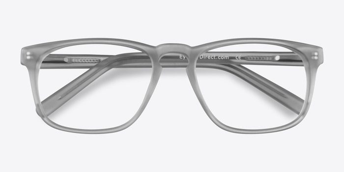 Rhode Island Matte Gray Acetate Eyeglass Frames from EyeBuyDirect, Closed View