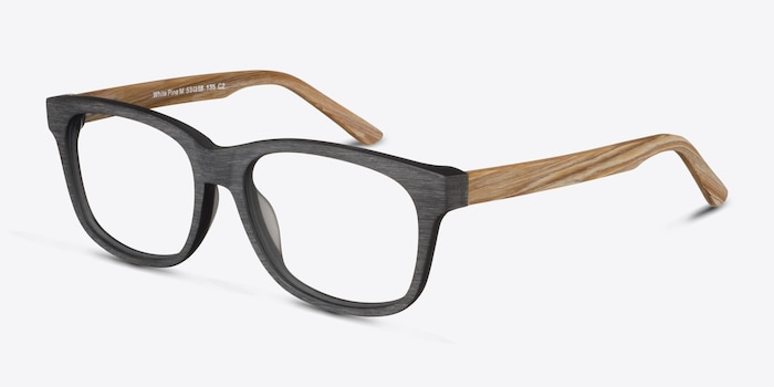 White Pine Black Wood-texture Eyeglass Frames from EyeBuyDirect, Angle View