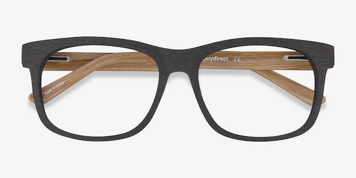 White Pine Black Wood-texture Eyeglass Frames from EyeBuyDirect, Closed View