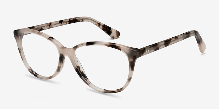 Hepburn Ivory Tortoise Acetate Eyeglass Frames from EyeBuyDirect, Angle View