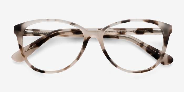 Hepburn Ivory Tortoise Acetate Eyeglass Frames from EyeBuyDirect, Closed View