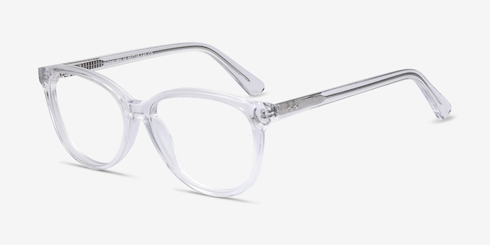 Hepburn Clear Acetate Eyeglass Frames from EyeBuyDirect, Angle View