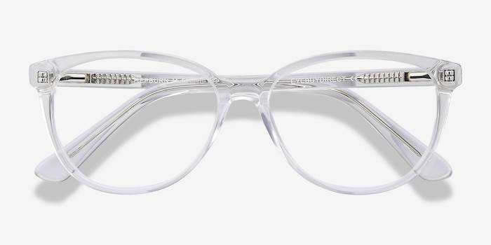 Hepburn Clear Acetate Eyeglass Frames from EyeBuyDirect, Closed View