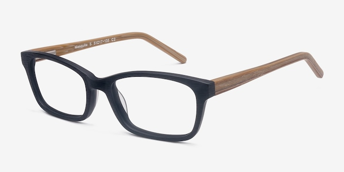 Mesquite Black Yellow Acetate Eyeglass Frames from EyeBuyDirect, Angle View