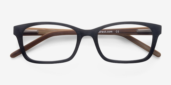 Mesquite Black Yellow Acetate Eyeglass Frames from EyeBuyDirect, Closed View