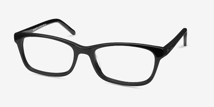 Mesquite Black Plastic Eyeglass Frames from EyeBuyDirect, Angle View