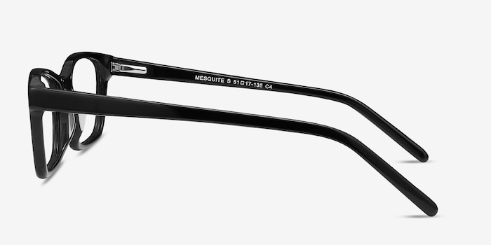 Mesquite Black Plastic Eyeglass Frames from EyeBuyDirect, Side View