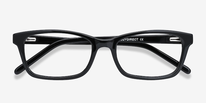 Mesquite Black Plastic Eyeglass Frames from EyeBuyDirect, Closed View